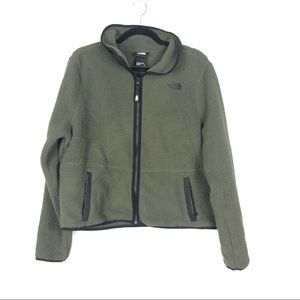 THE NORTH FACE olive green cropped Sherpa zip up sweater jacket R12